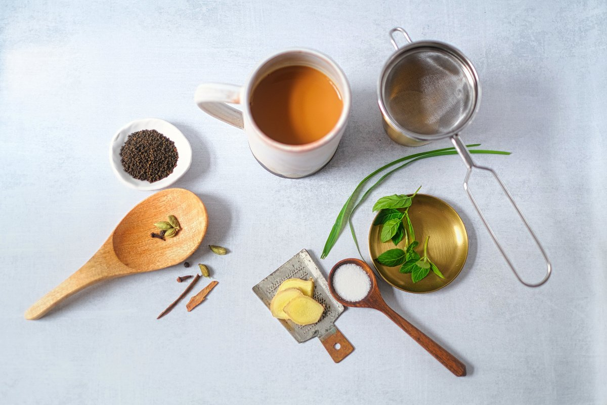 Chai Flatlay with ingredients